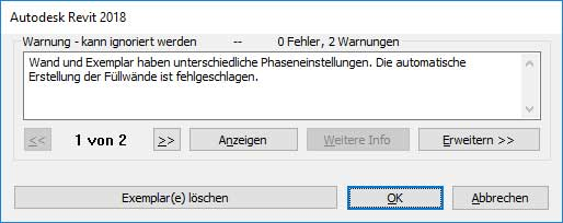 Warnung in Revit
