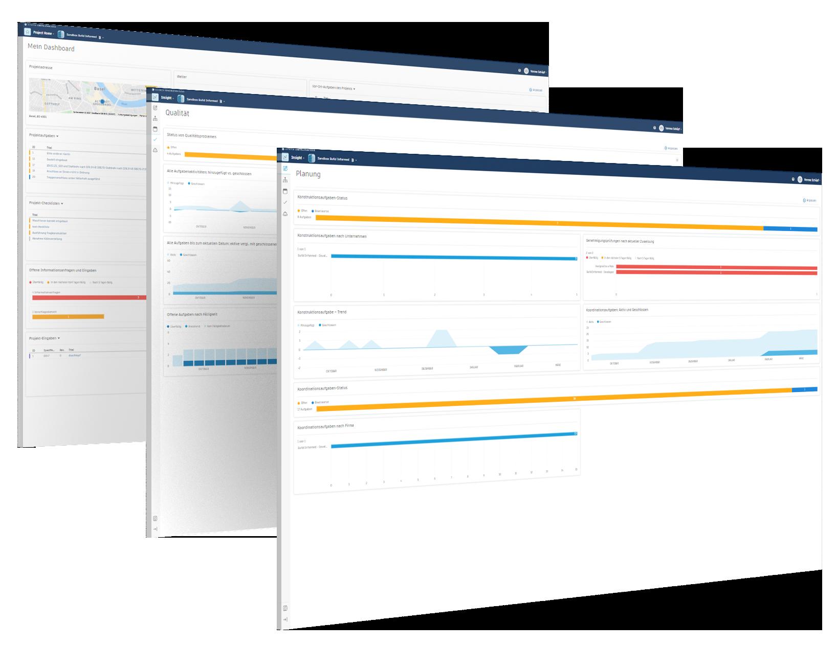 Digitales Baustellenmanagement Screens